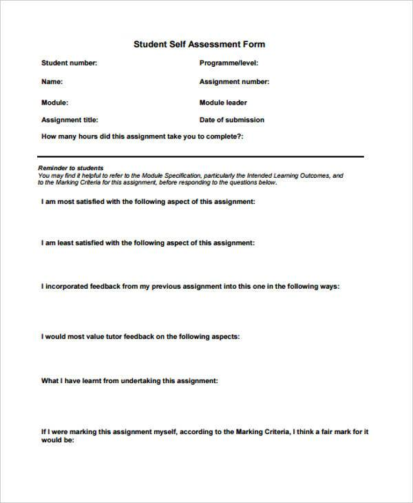 Sample Assessment Forms In Pdf