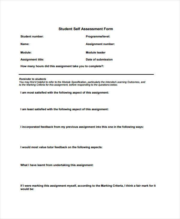Self Assessment Form Samples   Free Documents In Word Pdf