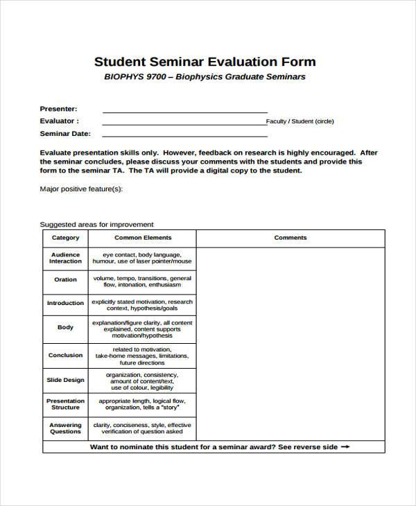 Sample Seminar Evaluation Forms   Free Documents In Word Pdf
