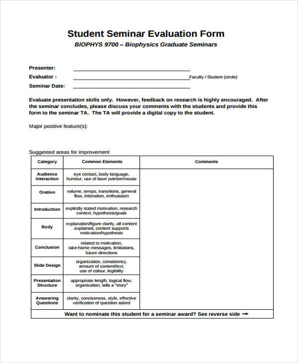 7 Seminar Evaluation Form Samples Free Sample Example Format – Seminar Evaluation Form