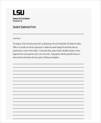 Free Statement Forms Student Witness Statement Form Sample Witness