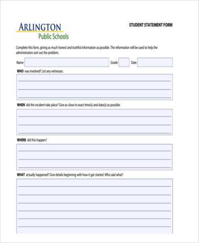 Statement Form. Simple Personal Financial Statement Forms Blank
