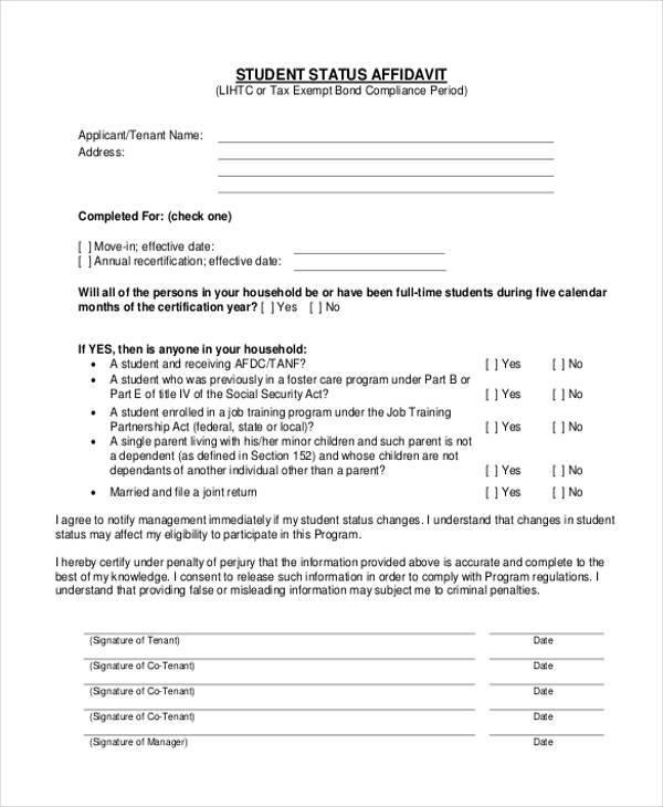 Sample Student Affidavit Forms - 9+ Free Documents in PDF