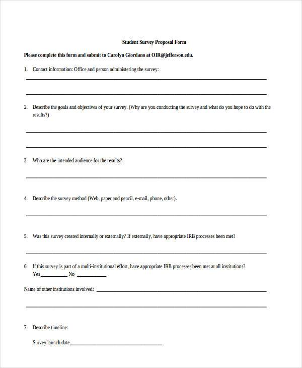 student survey proposal form