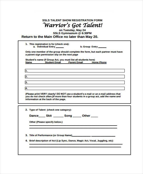 student talent show registration form