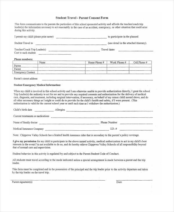 student travel consent form