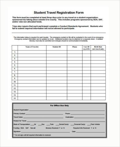 student travel registration form