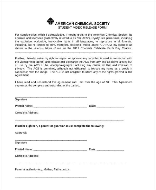 student video release form