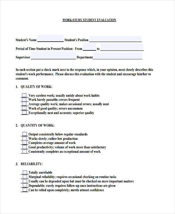 student work evaluation form