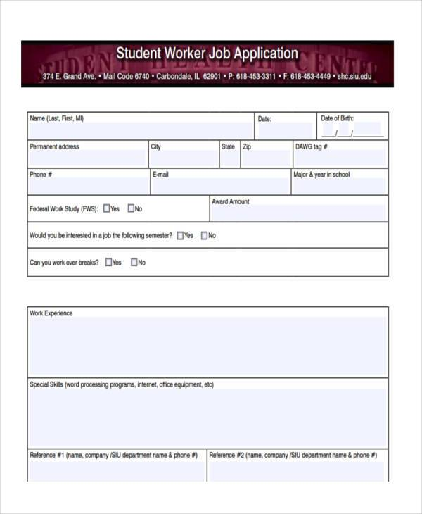 student worker job registration form