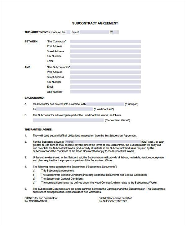 subcontract agreement form