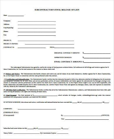 subcontractor construction release form