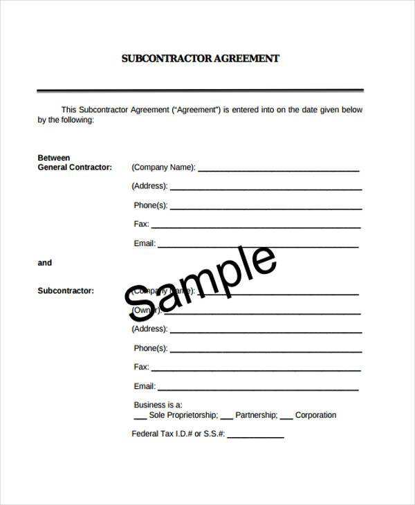 subcontractor contract agreement format
