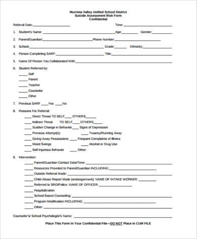 suicide assessment form for students