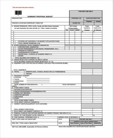 Sample Proposal Budget Forms   Free Documents In Word Pdf