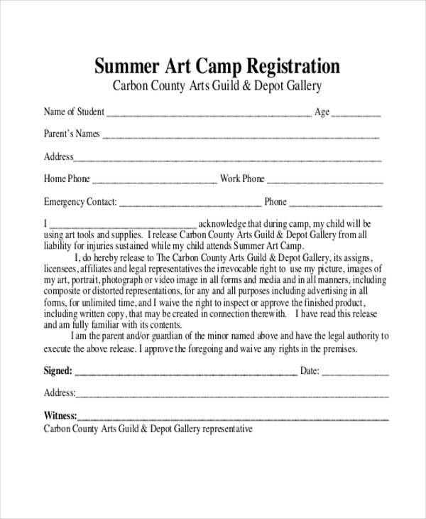 summer art camp registration form example
