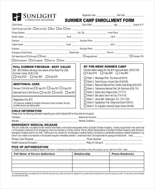 summer camp enrollment registration form
