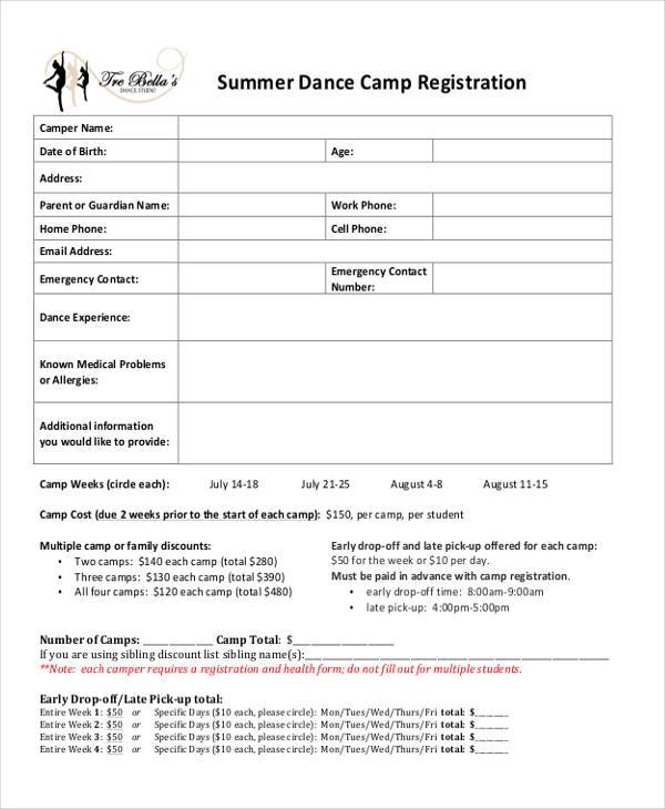 10 summer camp registration form samples free sample for Dance school registration form template free