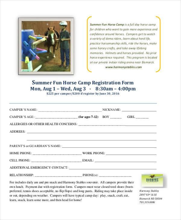 Summer-Fun-Horse-Camp-Registration-Form Medical Forms Pdf on information release, patient assessment, insurance verification,