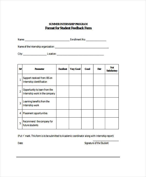 summer internship feedback form