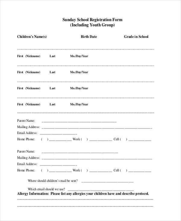 sunday school youth group registration form