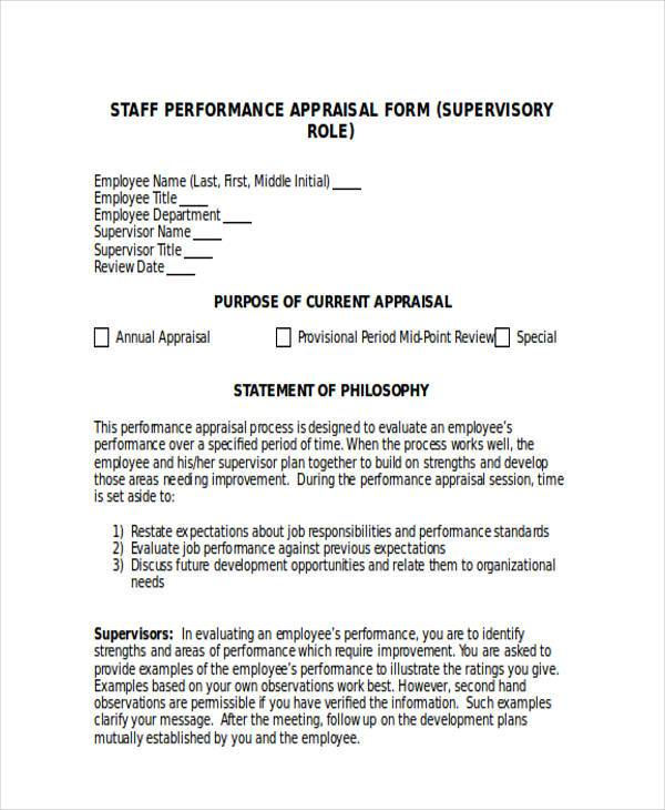 supervisor appraisal form in doc