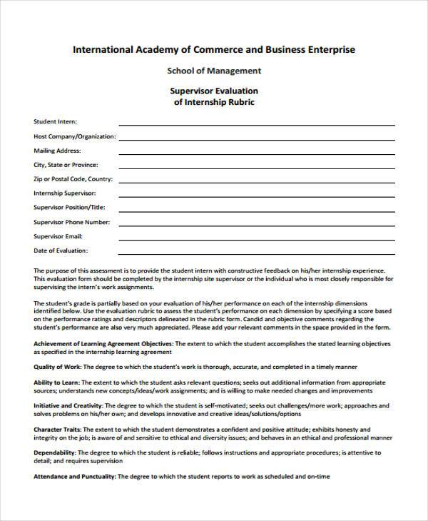 supervisor internship evaluation form example