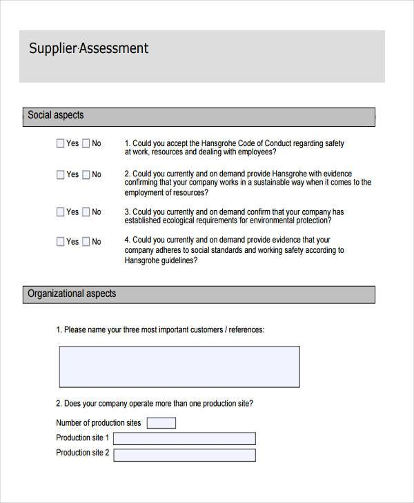 Sample Supplier Assessment Forms - 8+ Free Documents In Word, Pdf