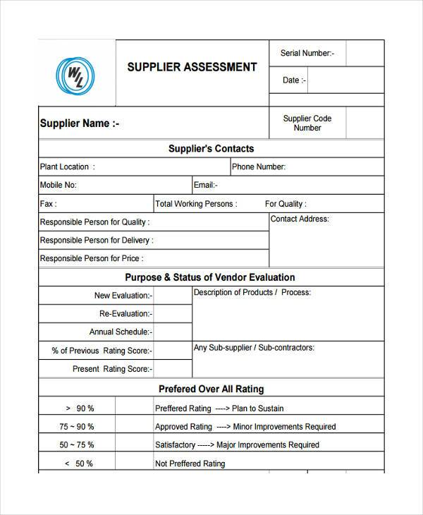 Sample Vendor Evaluation Forms
