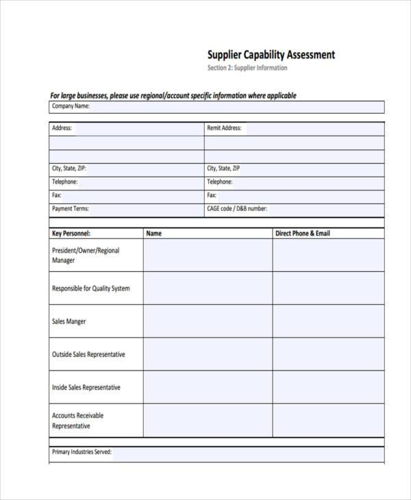 Sample supplier assessment forms 8 free documents in for Capabilities analysis template