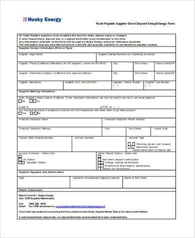 Sample Vendor Direct Deposit Forms   Free Documents In Word Pdf