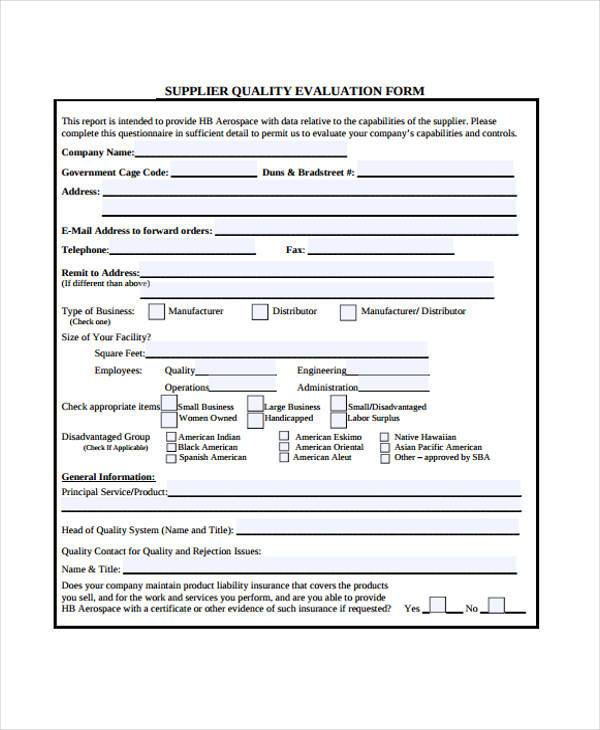 Supplier Evaluation Form Samples  Free Sample Example Format