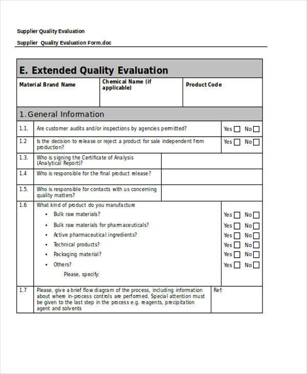 supplier quality evaluation form2