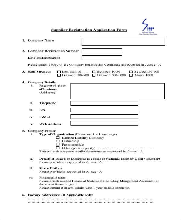 supplier registration application form