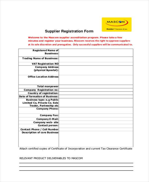 supplier registration form example