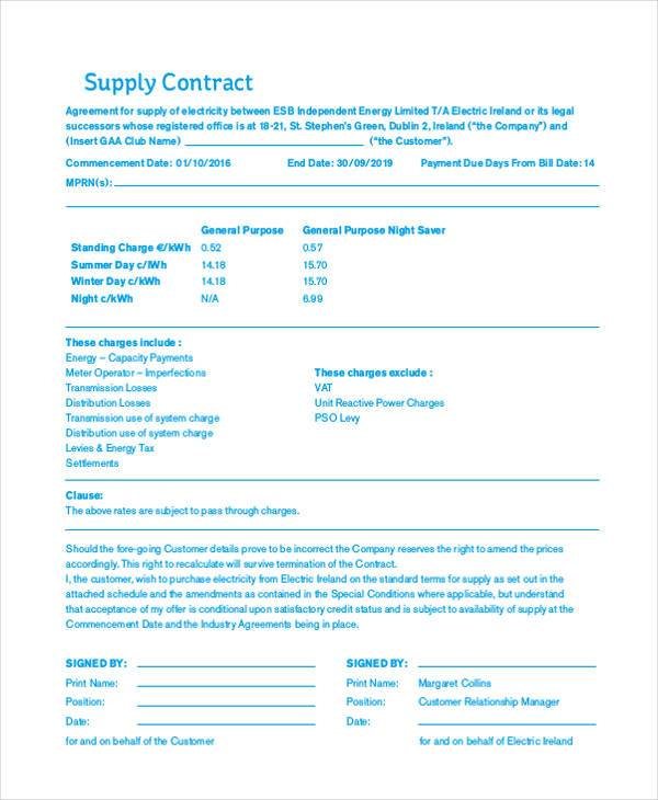 supply contract form example