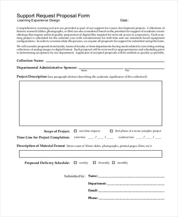 support request proposal form