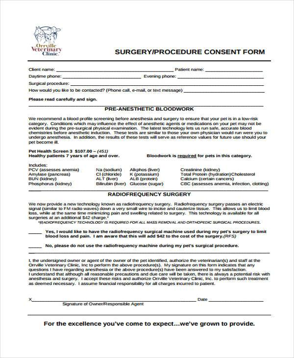surgical procedure consent form