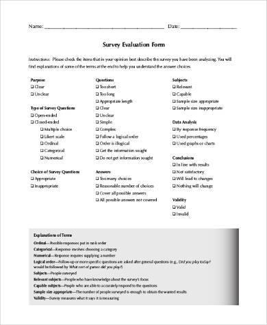 survey evaluation form in pdf