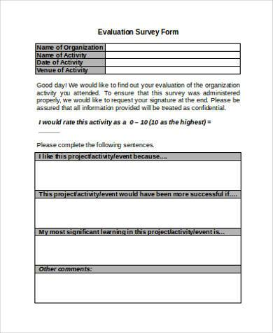 Sample Survey Evaluation Forms - 7+ Free Documents In Word, Pdf