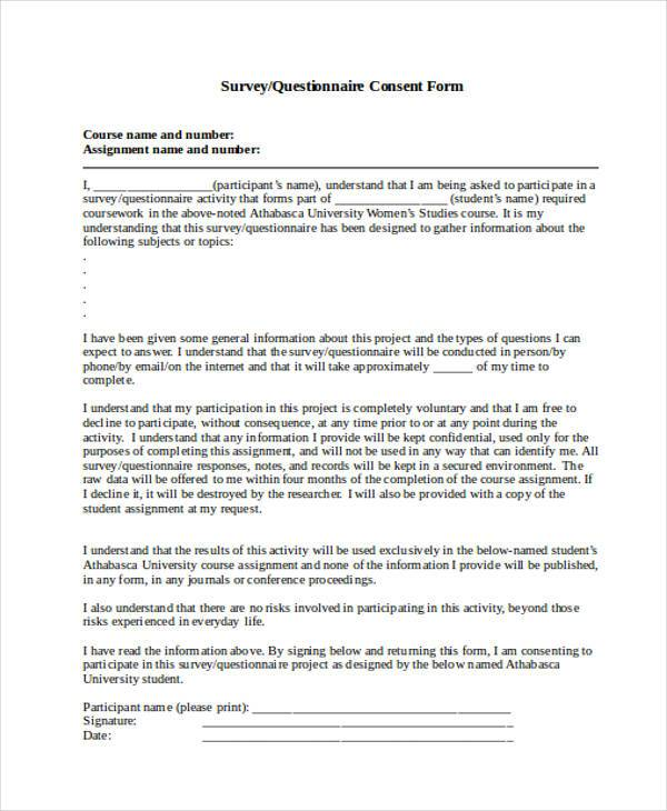 Survey Consent Form Samples  Free Sample Example Format Download