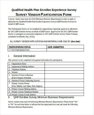 survey vendor participation form