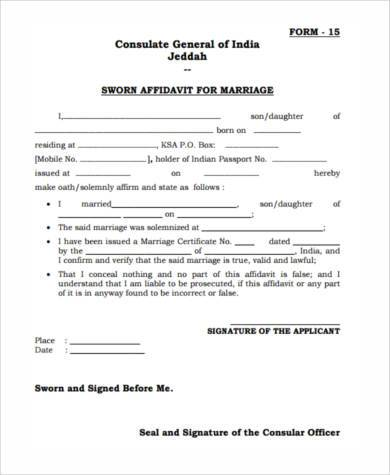 sworn affidavit form example
