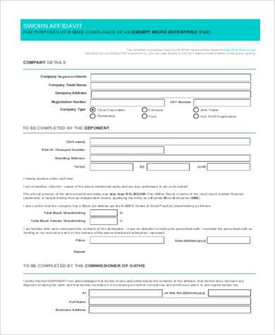 sworn affidavit form pdf