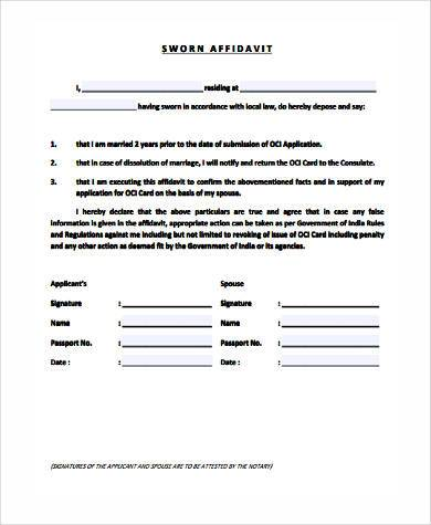 sworn affidavit form sample