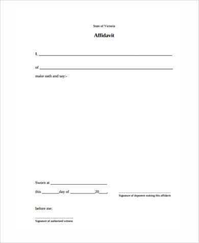 sworn statement affidavit form sample