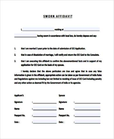Sworn Statement Form Samples   Free Documents In Pdf