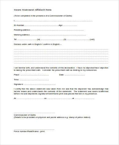 Sample Affidavit Forms In Doc - 20+ Free Documents In Word