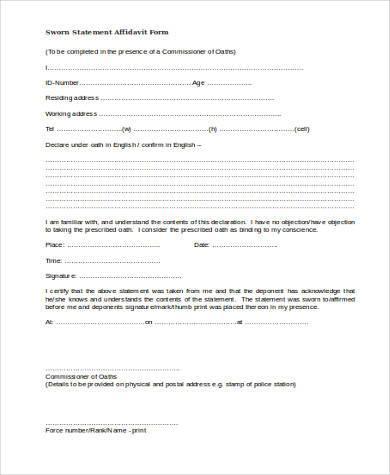 sworn statement affidavit form2