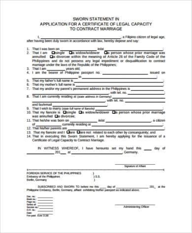 sworn statement legal form